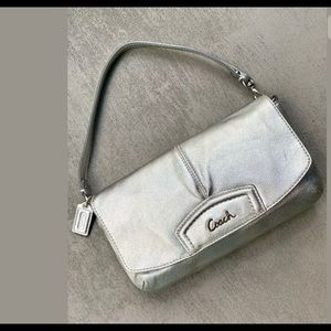 Coach Silver Leather Wristlet/Clutch Pocketbook